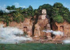 El gran Buda de Leshan, la estatua esculpida en piedra de Buda más alta del mundo - http://www.turistasenviaje.com/turismo-arqueologico/el-gran-buda-de-leshan-la-estatua-esculpida-en-piedra-de-buda-mas-alta-del-mundo/    La piedra más grande del mundo tallada de Buda se encuentra en Leshan, China. Este Buda gigante (también llamado Dafo tiene 71 metros de altura. Este Patrimonio de la Humanidad por la UNESCO fue tallada en el año 713 para calmar a los ríos que corren