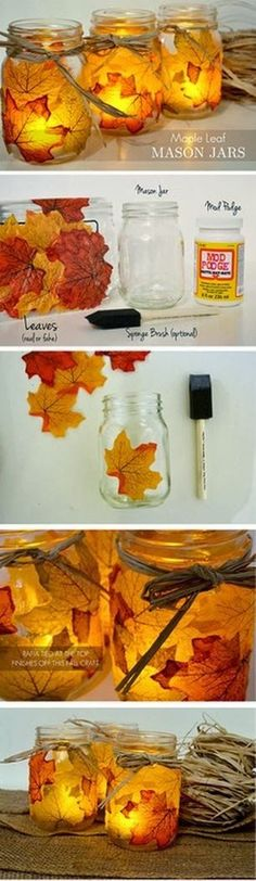 DIY Leaf Mason Jars. Pretty fall decor! Hang from the ceiling above dining room table?