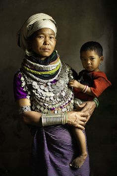 031c16939b Asia | Portrait of a Reang mother and child wearing traditional clothes,  headscarf and silver