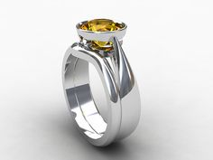 Citrine engagement ring set with curved wedding band by TorkkeliJewellery, $2390.00