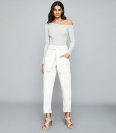 Featuring an asymmetric neckline and long sleeves, the Jessie bodysuit in grey is crafted from a ribbed-knit and fits close to the frame. Wear yours with anything from pared-back denim to party-ready pencil skirts. Reiss, S Models, Jessie, Trendy Outfits, High Fashion, Women Wear, Bodysuit, Clothes For Women, My Style