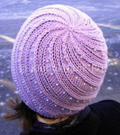Сиреневая шапочка с жемчужинами   Вязание для женщин   Вязание спицами и крючком. Схемы вязания.