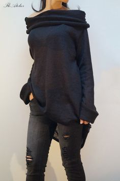 Black Asymmetrical Sweater/Sweater Dress/Knitwear by FloAtelier