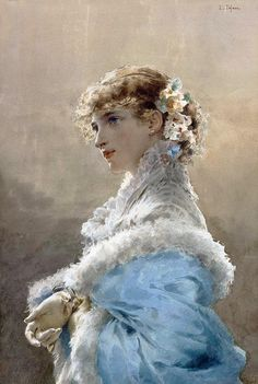 Young Woman in a Blue Dress. Edoardo Tofano (Italian, 1838-1920). Tofano completed studies at the Accademia Clementina of Bologna. He then r...