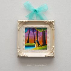 "SOLD: ""Country Lights 5"" original painting by Cindy Thornton #woodland #originalart #miniatureart #landscape #mini #art #painting #small #magical #tiny #house"