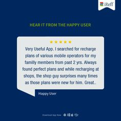 "Review from one of our happy user - ""Very Useful App"" Thanks for sharing your feedback.  #iReff #UserReview #PrepaidPlan #AppReview"