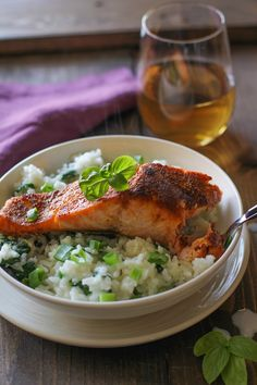 Crispy Curried Salmon with Basil Coconut Rice - my rice