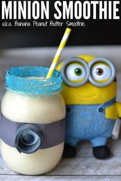 This Minion smoothie is such a fun snack for kids. Alright, it's a banana peanut butter smoothie, but when you dress it up like a Minion, how can they resist?