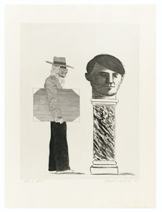 David Hockney  N.1937  THE STUDENT : HOMAGE TO PICASSO  DAVID HOCKNEY ; THE STUDENT : HOMAGE TO PICASSO ; ETCHING AND AQUATINT ; SIGNED ; 1973 ; WOVE PAPER  Estimate: 6,000 - 8,000 EUR  LOT SOLD. 16,250 EUR (Hammer Price with Buyer's Premium)  (S.A.C. 153)    Eau-forte et aquatinte, 1973, impression atelier Crommelynck, signée au crayon, datée et annotée O.K to print, en dehors des 100 épreuves numérotées, sur papier vélin  Planche : 575 x 440 mm ; 22 3/4 by 17 1/4 in  Feuille : 753 x 568 mm…