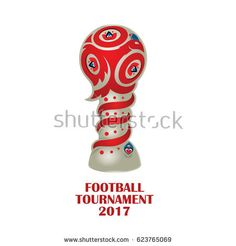 vector illustration. Football tournament 2017. logo for the summer soccer championship. Cup of confederations 2017 on football. Soccer world cup in russia 2018