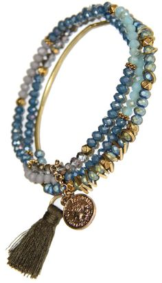 Marine Blue Crystal and Gold Filigree Stretchy Bracelet Stack With Tassel and coin. Arm Candy Bracelets, Crystal Bracelets, Jewelry Bracelets, Gold Filigree, Silver Rhinestone, Sapphire Bracelet, Marine Blue, Gypsy Jewelry, Blue Crystals