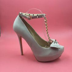 78.00$  Buy now - http://alimqm.worldwells.pw/go.php?t=32741976510 - Beige T-Strap Women Pumps Platform Chain Bow Luxury Shoes Women Designers Chaussures Femmes Automne High Heels Sapato Salto 78.00$