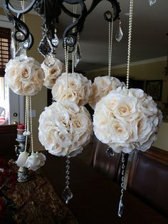 Elegant Pomanders  Set of 6 Mixed Stunning by Elegantweddingdecor, $185.00  Think we could make these?  Can probably get everything @ Michael's for 1/2 the price...silk flowers, straight pins, crystals, styrofoam ball, ribbon.