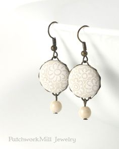 Dangle Earrings, Ivory Lace Flowers, Fabric Button Earring, Beige White Floral Jewelry, Bridal Wedding Ivory Shabby Cottage Chic Czech Beads by PatchworkMillJewelry