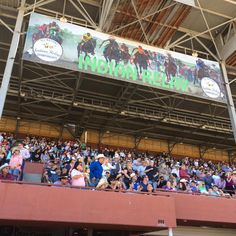 Awesome to see the grand stand full for the Indian Relay Championship. #billingsmt #metrapark #indianrelayraces