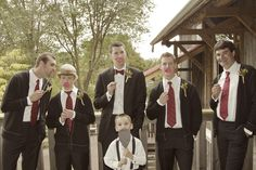 DYI Barn Wedding  - groomsmen with red ties