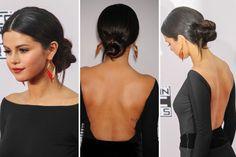 Los peinados de los American Music Awards Selena Gomez asisitó al evento con un chignon (más bajo que el de Heidi Klum), perfecto para el vestido que eligió con espalda bien escotada. / Corbis