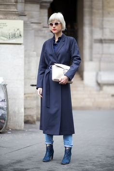 Navy and denim. Linda Tol   - HarpersBAZAAR.com