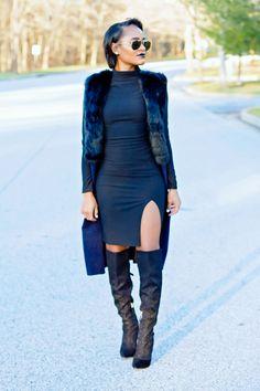 "alt=""black midi dress, black over the knee boots, faux fur vest, ray ban sunglasses, black lipstick"""