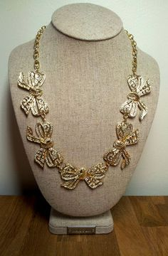 Next stop: Pinterest J Crew Necklace, Gold Necklace, Rhinestone Bow, Holiday 2014, Bows, Ebay, Jewelry, Shopping, Fashion
