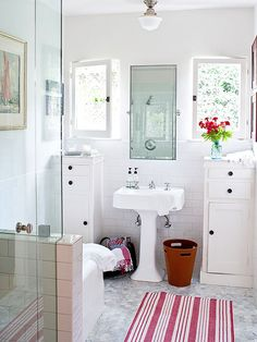 Storage and organization solutions in a bathroom don't have to gobble lots of vertical or horizontal space: http://www.bhg.com/bathroom/storage/storage-solutions/declutter-your-bathroom/?socsrc=bhgpin040515narrowspaces&page=1