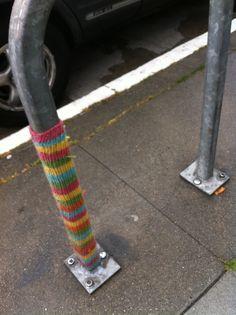 Knit yarnbombing