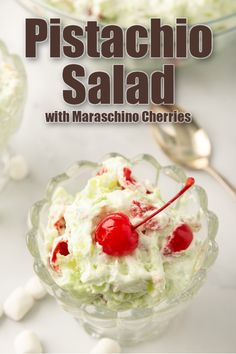 Pistachio salad is a retro dessert salad recipe that also makes a great side dish! This fluff salad has pineapple, pistachios, marshmallows, and cherries! #sidesish #salad #dessert #easyrecipe #pistachio #fluff Valentine Desserts, Holiday Desserts, Holiday Recipes, Great Desserts, Dessert Recipes, Fluff Desserts, Easy Cooking, Cooking Recipes, Pistachio Fluff