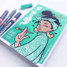 Keep A Sketchbook And Have Fun - Drawing On Demand Pen Art, Marker Art, Pretty Art, Cute Art, Molotow Marker, Character Illustration, Illustration Art, Art Sketches, Art Drawings