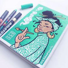 Keep A Sketchbook And Have Fun - Drawing On Demand Pen Art, Marker Art, Pretty Art, Cute Art, Molotow Marker, Art Sketches, Art Drawings, Character Art, Character Design