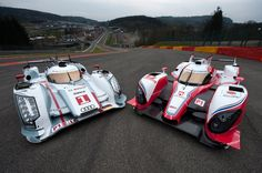 Hybrid racecars from Toyota and Audi Sport in the 2012 race, shown here at Spa Francorchamps.