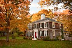 Four Squares House. Shingled Home In Autumn, Colonial, Black Shutters, Red  Door