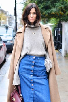 Turtleneck paired with a denim skirt