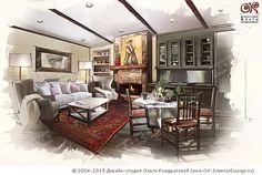 Дизайн кухни-гостиной в стиле кантри
