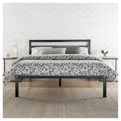 Modern Studio Metal Platform Bed 1500 with Headboard - King - Black - Zinus
