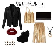 """Moto Jacket"" by masterlindseyy ❤ liked on Polyvore featuring LE3NO, TIBI, Forever Link, Balmain, Lime Crime, Cartier and Chanel"