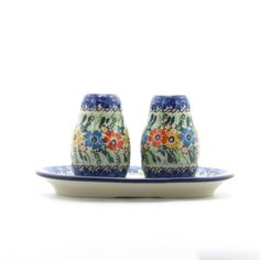 What a Happy looking Wedding Gift!  They will remember you every time they share a meal!  Handmade Ceramic Red Yellow Blue Flower Salt and Pepper Set – Gifts by Kasia