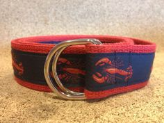 Red Lobster on Red Nautical DRing Belt by RockinRibbonz on Etsy, $18.00