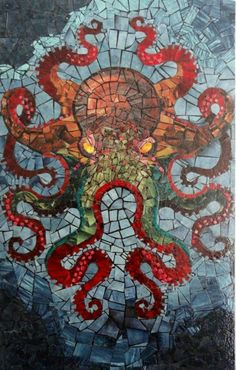 octopus mosaic by dan chudzinski Tile Art, Mosaic Art, Mosaic Glass, Mosaic Tiles, Glass Art, Stained Glass, Kraken, Mosaic Projects, Art Projects