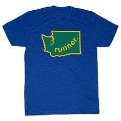 Mens Lifestyle Runners Tee Washington Runner (Green/Gold) - Show off your pride for Washington with this great Washington Runner State Tee.