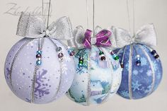 Set of 3 Christmas Ornaments  Snow House Snowflakes  by Zhordochka, $50.00
