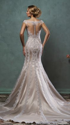 amelia sposa 2016 wedding dresses lace cap sleeves bateau neckline fit flare champange gold mermaid dress mimi back -- Amelia Sposa 2016 Wedding Dresses Amelia Sposa Wedding Dress, 2016 Wedding Dresses, Lace Mermaid Wedding Dress, Wedding Attire, Bridal Dresses, Wedding Gowns, Boat Neck Wedding Dress, Bridesmaid Gowns, Dresses 2016