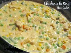 This Creamed Chicken a la King is an old favorite and one that is a dream for the busy, budget-minded cook. A wonderful way to use leftover chicken, it is almost a deconstructed chicken pot pie. I like to prepare the thick chicken and vegetable sauce in m Slow Cooker Huhn, Crock Pot Slow Cooker, Crock Pot Cooking, Slow Cooker Chicken, Slow Cooker Recipes, Crockpot Recipes, Chicken Recipes, Cooking Recipes, Recipe For Creamed Chicken