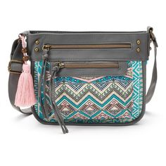 T-Shirt & Jeans Festival Muse Tribal Crossbody Bag, Women's, Gray ($29) ❤ liked on Polyvore featuring bags, handbags, shoulder bags, grey, shoulder strap bag, grey crossbody, purse crossbody, hand bags and crossbody purse