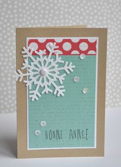 Love the snowflake! Christmas Card Crafts, Noel Christmas, Xmas Cards, New Year Cards Handmade, Beautiful Christmas Cards, Cardmaking And Papercraft, Cricut Cards, Creative Cards, Homemade Cards