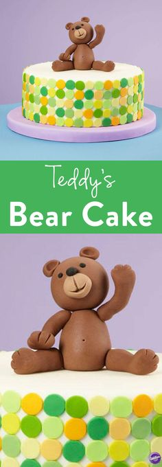 How to Make a Bear Cake - You will get many bear hugs for making this cute Teddy's Bear Cake. Use the Wilton Round Cut-Outs Fondant Cutters to add dimension to the cake.