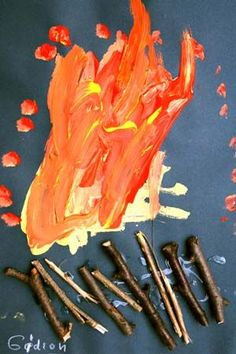 Kikunst, Kinderbilder im Kunstunterricht Eyfs Activities, Nature Activities, Infant Activities, Kindergarten Art, Preschool Art, Art For Kids, Crafts For Kids, People Who Help Us, Fire Painting