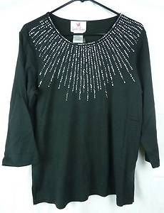 Quaker Factory Starburst Pearl 3 4 Sleeve Knit T Shirt Size Medium Black | eBay