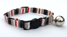Cat Collar  Handmade  Red and black stripe by ItsAlicesImagination