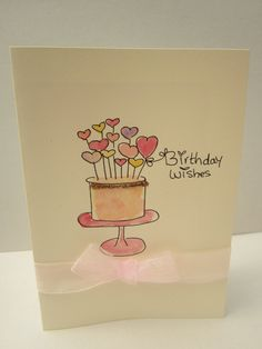 Birthday Cake, watercolour card, birthday card, daughter card, girlfriend card, mum card, wife card, handmade card, handpainted, personalise by AngelAtMyEasel on Etsy