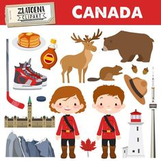 by Zlatoena Cliparts Moose Clipart, Cute Clipart, Countries And Flags, Canadian Things, Deer Illustration, Costumes Around The World, Kids Background, Art Drawings For Kids, Viajes